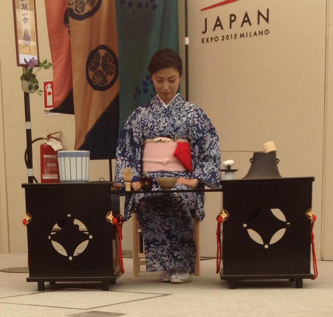 Cerimonia del tè nel padiglione giapponese in Expo